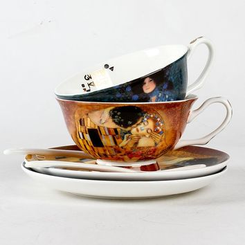 Creative European bone china coffee cup suit simple afternoon tea cup Gustav Klimt Art paintings