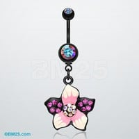 Hawaiian Luau Multi-Gem Belly Button Ring
