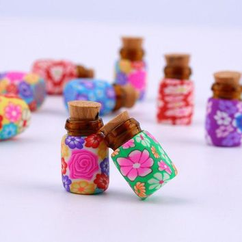 ac DCCKO2Q NEW 10 pcs Mini Glass Polymer Clay Bottles Containers Vials With Corks new arrival Can put in some powder or Beads & Jewellery