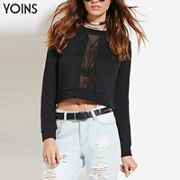 YOINS 2016 New Spring Women Sexy Mesh Patchwork Crop Top Casual Long Sleeve O Neck Short Sweatshirt Hollow Out Pullover Blouse