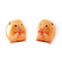 Realistic Hamster Mouse Shaped Animal Resin Stud Earrings | Made To Order | Handmade