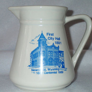 Crockery pitcher Blue and white kitchen decor Newcastle, Wyoming Centennial Souvenir