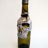 Glass bottle drinking, Gothic Skull drinks, Small bottle, Silver skull, Decorated with skulls, Spirit, Hand Painted clay