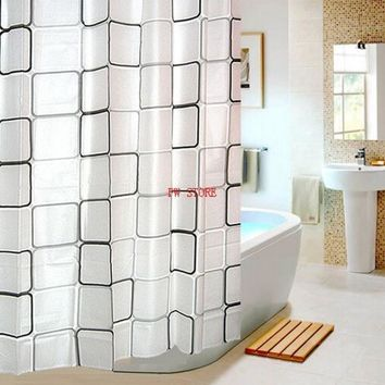 DCCKL72 PEVA Bathroom Shower Curtains Water Proof  Bath Curtain Plaid Pattern