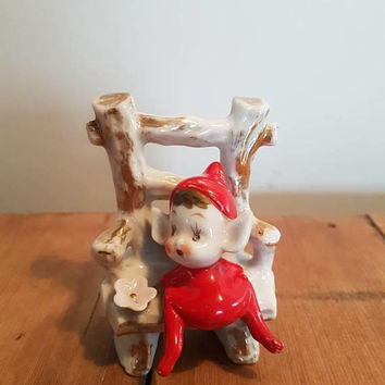 Vintage Pixie / Elf on a chair Figurine kitsch Red  Christmas pixies Elves