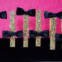 6 Clothespin Magnet in BOW TIE Chunky GOLD Glitter. A TON OF OPTIONS!