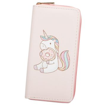 Sansarya New 2018 Cute Cartoon Unicorn Print PU Long Women Wallet Clutch Phone Bag Ladies Card Holder Female Purse with Zipper