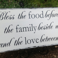 Bless the food before us....the Family beside us, Prayer sign, Kitchen sign, wall decor, Castle Inn Designs Typography,Wall Art,