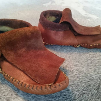 Women's leather Moccasins Inca style low cut native American aztec leather bison hide hippie larp festival