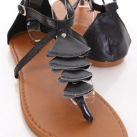 Black Faux Leather Folded Decor Thong Strap Sandals