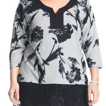 Women's Cashmere Touch Plus Size Tunic Top with Lace Hem