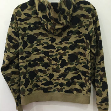 25% Off Vintage 90s Bathing Ape Green Camo Hoodie Sweater Bape Jacket Hip Hop Ape Shall Never Kill Ape Size XS #J75