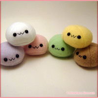 Yellow mochi plushie, dango plush, anime food plushie, kawaii food, mango mochi, mango dango, japanese food, anime toy, dessert plushies