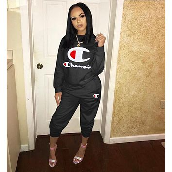 Champion Popular Women Leisure Embroidery Long Sleeve Top Pants Set Two-Piece Sportswear Black