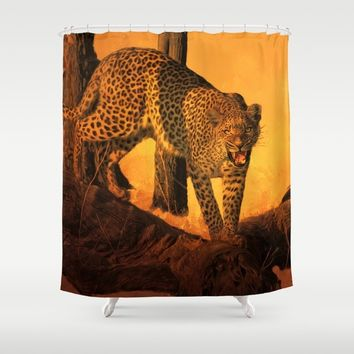 Hot Time In The Jungle Shower Curtain by Theresa Campbell D'August Art