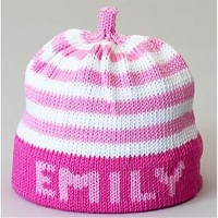 Pink Name Your Stripe Personalized Knit Hat