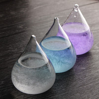 Kiwarm New Water Drops Shape Bottle Weather Rainstorm Forecast Glass Crystal Ornaments Crafts For Home Decoration Birthday Gift
