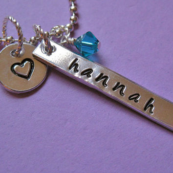 Handstamped Necklace Custom Name Necklace Hand by thirtyoneshekels