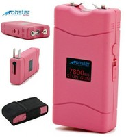 Monster SG-M18000PK Rechargeable Stun Gun with LED Flashlight (Pink)