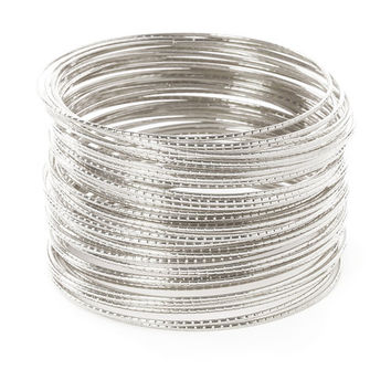 Thin Laser Cut Silver Bangle Bracelets Set of 50