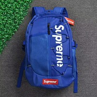 Supreme Trending Stylish Large Capacity Canvas Backpack College High School Bag Travel Bag Blue I-AA-XDD