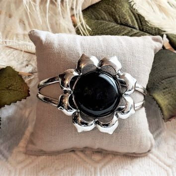 One of a Kind Artisan Crafted Sterling Silver Black Onyx Floral Cuff Bracelet