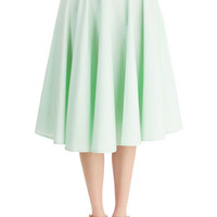 Vintage Inspired Long High Waist Whimsical Wonder Skirt in Mint
