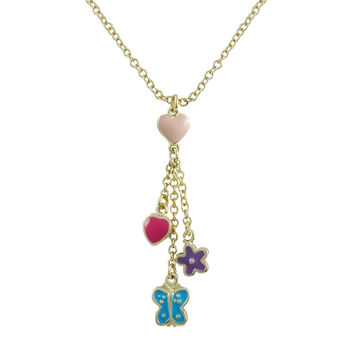 Lavender Flower, Turquoise Butterfly, And Hot Pink Heart Hanging From Light Pink Heart Lariat Style Gold Tone Brass Necklace, 15