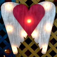 Wings with Heart Marquee Sign Custom Painted Rustic Shabby, Light Up, Home Décor, Boutique, Restaurant, Nursery, Bedroom, Birthday, Patio