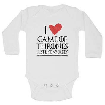 I Love Game Of Thrones Shirt Just Like My Daddy Funny Kids Onesuit