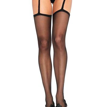Sheer stockings with attached lace garterbelt