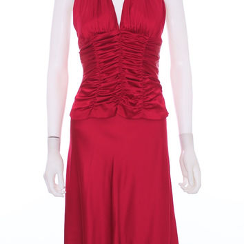 MARIA BIANCA NERO Two Piece Vibrant Red Silk Corset Halter and Skirt Size Med