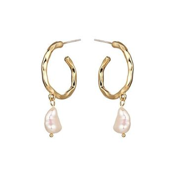 Hammered Hoop Pearl Drop Earrings