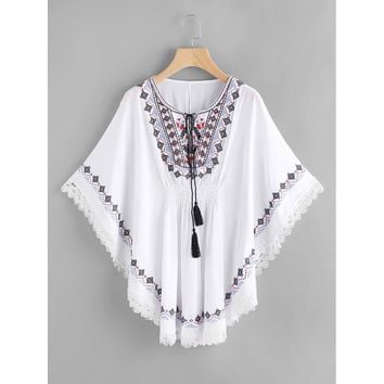 Embroidered Tassel Tie Neck Lace Trim Kaftan Dress