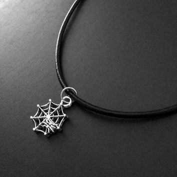 Spider Choker, Spider Web, Spider Charm, 90s Choker, Grunge Jewelry, Black Choker, Gothic Choker, 90s Jewelry, Alternative Fashion