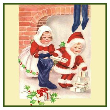 Vintage Christmas Santa Helpers Nimble Nicks # 2 Counted Cross Stitch or Counted Needlepoint Pattern