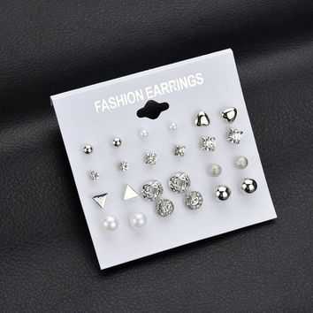 QUMORAIN Korea Style 12 Pairs Sets Round Square Ball Alloy Crystal Stud Pearl Earrings For Women Hot-selling Cute Stud Earring
