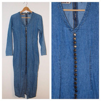 Vintage Express Denim Long Sleeve Maxi Dress with Button Up Front