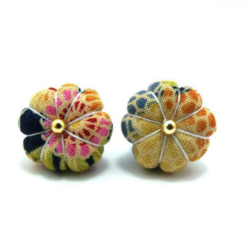Ume Flower Earrings/ Clip on earrings- Blue Peony Flower Ume Kimono Flower With Gold Beads