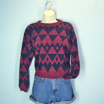 Vintage 70s Sweater, Abstract 1970s Sweater, Red Black Cropped Sweater, Geometric Sweater