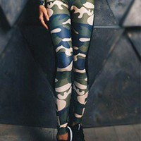 Army Green Camouflage Print High Waisted Sports Yoga Workout Long Legging