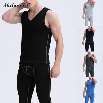 2017 Winter Thermal Underwear Sets For Men Black Blue Elastic Long Johns Gray Knitted Warm Sexy Brand Men's Pants and Vest Suit