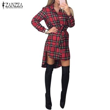 Vintage Retro Plaid Print ZANZEA Women's Long Sleeve Shirt Dress