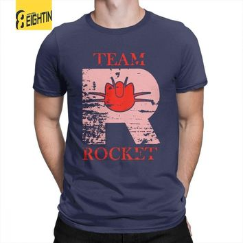 Team Rocket Poke T Shirt Man's New Tops Vintage T-Shirts Crewneck Cotton TeesKawaii Pokemon go  AT_89_9