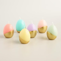 Set of 6 Gold Dipped Artisan Made Spring Easter Egg Candles