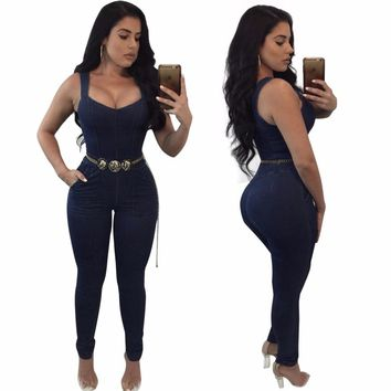 2018 Summer Women Skinny Jumpsuit Sexy Bodysuit overalls body One-piece Hot Sell Plus size Clothing Sashes