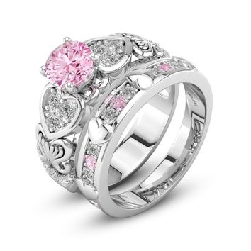 Hainon Sweet Heart Silver Color Rings Sets Pink Cubic Zirconia Wedding Party Ring Sets Fashion Brand Women Luxury Jewelry