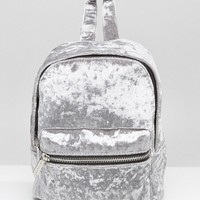 Skinnydip | Skinnydip Crushed Velvet Mini Backpack in Grey at ASOS