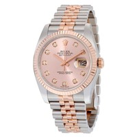 Rolex Datejust Pink Diamond Dial Fluted 18kt Rose Gold Bezel Jubilee Bracelet