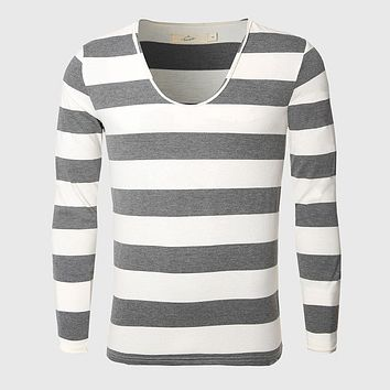 Men Navy Thick Stripe T Shirt Slim Basic Tee Shirts Cotton Nautical Striped Tops Pattern Vintage Classic
